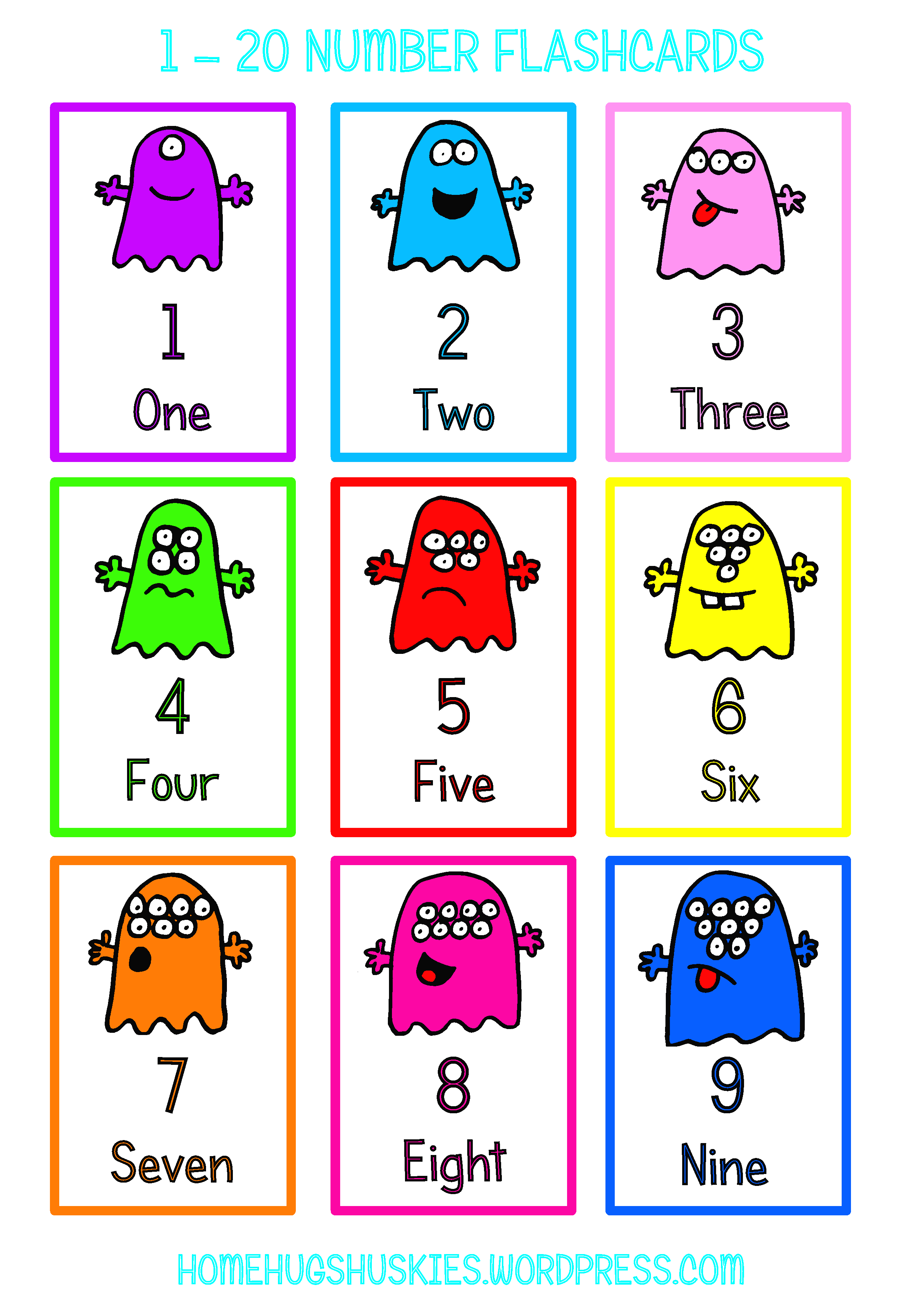 photograph regarding Free Printable Number Flashcards called Training Thursday: Free of charge Monster Maths Printables